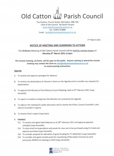 Ordinary Meeting of Old Catton Parish Council 8th March 2021