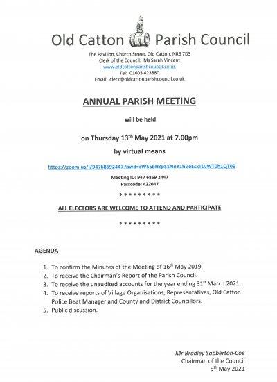 ANNUAL PARISH MEETING - 13TH MAY 2021