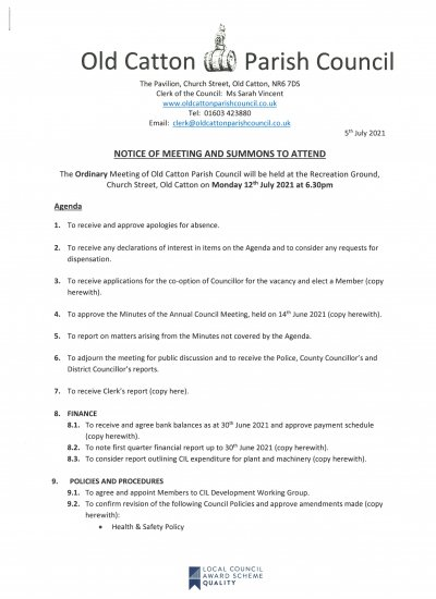 Ordinary Meeting of Old Catton Parish Council 12th July 2021