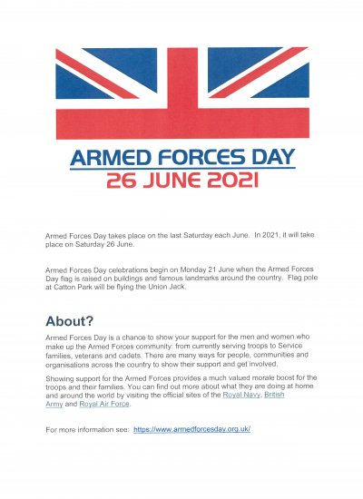 Armed Forces Day 26th June 2021