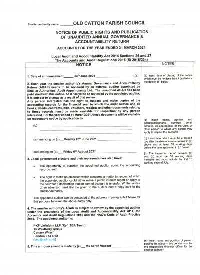Notice of Public Rights and Publication of Unaudited Annual Governance & Accountability Return