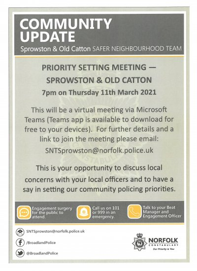 Safer Neighbourhood Action Panel - Virtual Meeting 11th March 2021
